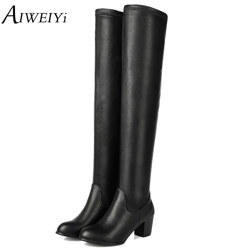 AIWEIYi Slim Boots Sexy Over The Knee High Women Snow Boots Pu Leather Women's Fashion Winter Thigh High Boots Shoes Woman 2017 sexy thick bottom women s over the knee snow boots leather fashion ladies winter flats shoes woman thigh high long boots