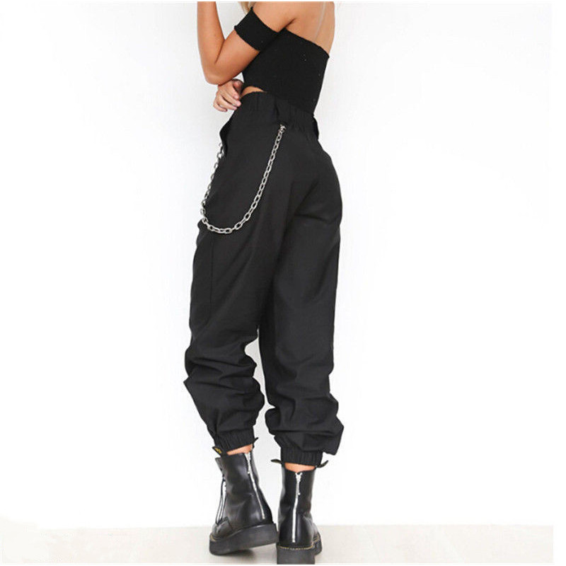 Women's high waist cargo trousers cotton pants solid punk casual loose long sports fashion plus size 4