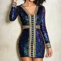 2017 Chic Luxury Sequin Dress AutumnLong Sleeve Club Wear Bodycon Mini Dress Sexy V Neck Celebrity Party Winter Dresses Vestidos