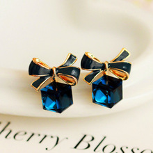 Cubic Bow Knot Green Blue Crystal Earrings