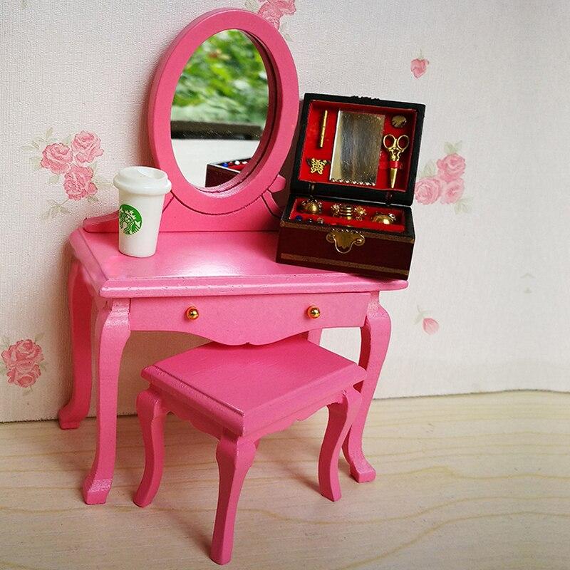 A01-X121 enfants bébé cadeau jouet 1:12 maison de poupée mini meubles Miniature rement en bois commodes et tabourets rose couleur 2 pièces/ensemble (lot de 2)