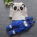 Детская одежда 2016 весна комплект одежды 0-3 младенца хлопка медведь мультфильм ремень брюки костюмы новорожденный одежда с длинным рукавом полосы набора