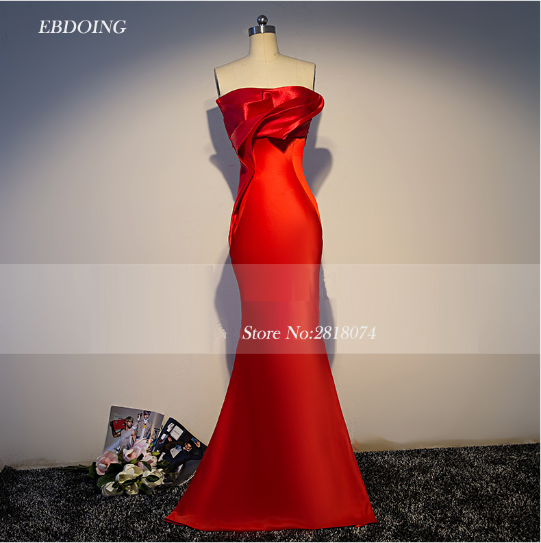 Robe de soiree Stunning Red Mermaid Formal   Dresses   Strapless Neckline Vestidos de festa Lace Up   Evening     Dresses