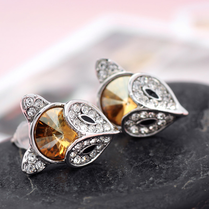 Neoglory Austria Crystal   Rhinestone Stud Earrings Alloy Plated Fashion Cute  Fox Style Jewelry For Women Classic Sale-in Stud Earrings from Jewelry ... 9f2720009771
