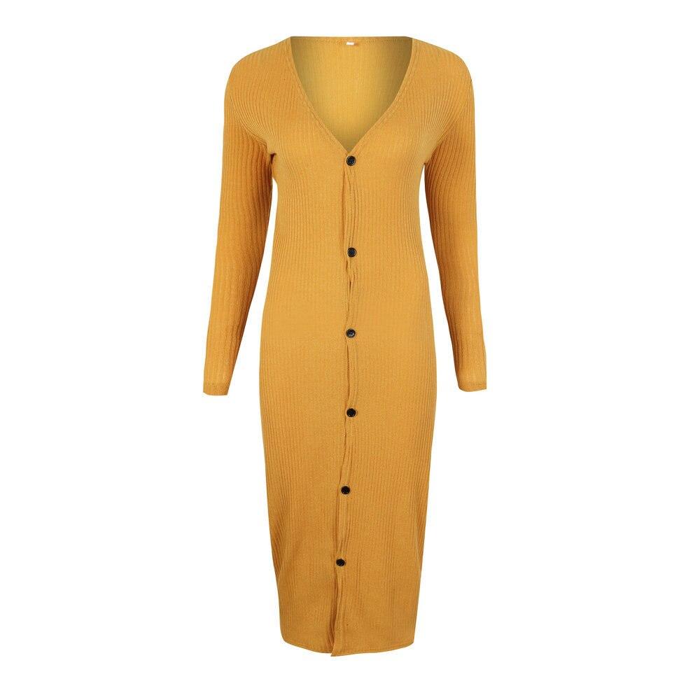 Autumn Women Dress Long Sleeved V-neck Button Ladies Knitted Dresses 2018 New Fashion Elegant Slim Solid Color Female Vestidos