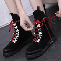 Platform Boots High Help Lace Up Women Shoes Solid Black Yellow Boots Women Rubber Hard Wearing