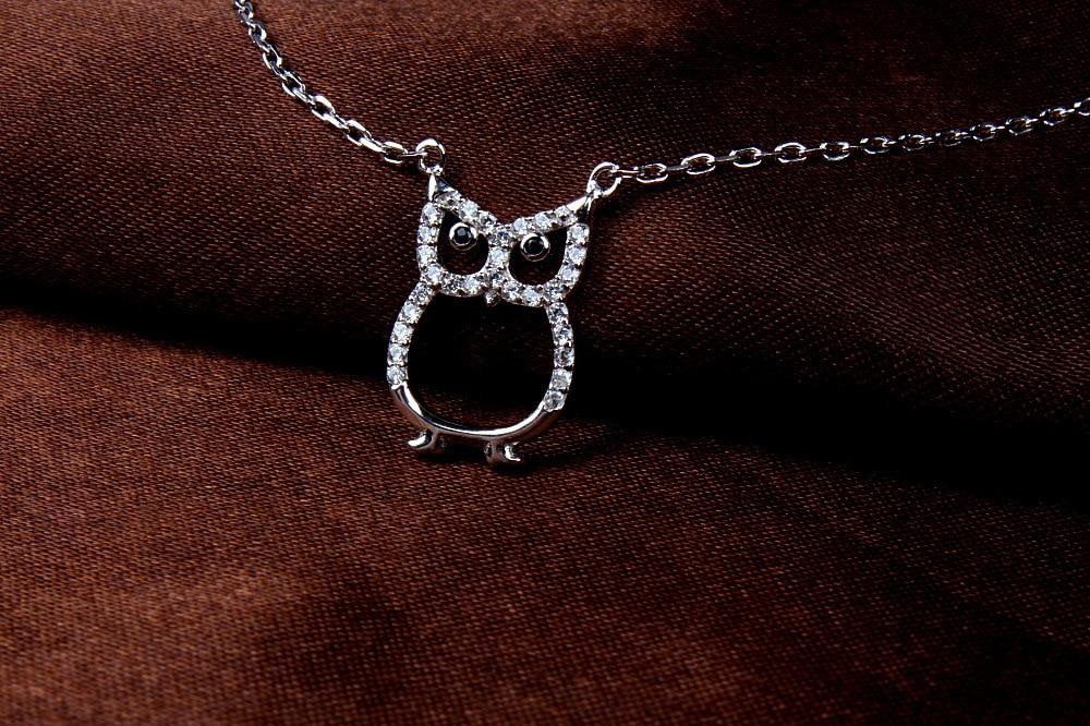 LVP24 women fine jewelry,lovely owl pendant,925 silver necklace for beloved girl цена 2017