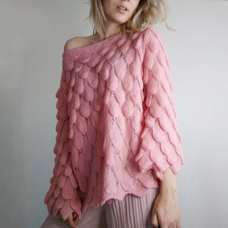 Womens Casual Ruffle Neck Long Sleeve Fine Knit Pullover Knitted Ladies Jumper