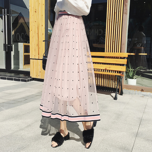 TingYiLi Pink Tulle Skirt With Dot Spring Summer Women Skirt Black Gray Beige High Waist Vintage Long Skirt-in Skirts from Women's Clothing on AliExpress - 11.11_Double 11_Singles' Day 1