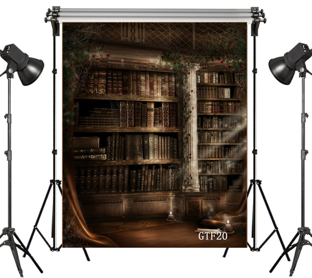 LB Vinyl Photography Background Gothic Bookshelf Vintage Backdrop Studio Photo Backgrounds Props Available Customize