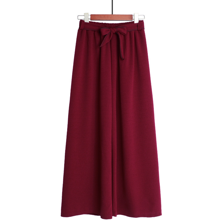HTB1RhgnTyrpK1RjSZFhq6xSdXXak - Yanueun Spring Summer Hot Sale Solid Wide Leg Pants Loose Pants Bow Ankle Length Pants Women's High Waist Stylish Loose Pants