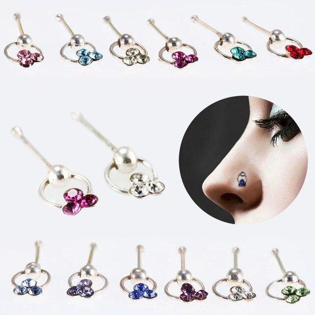 Fashion Crystal Flower Hoop Stud Nose Ring Earrings Lip Eyebrow
