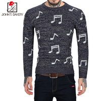 John S Bakery Brand 2018 New Fashion Autumn Casual Sweater Notes Embroidery O Neck Slim Fit