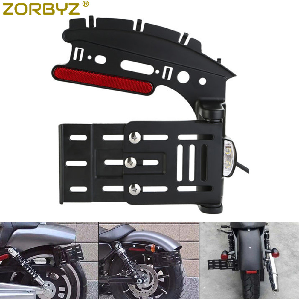ZORBYZ Motorcycle Collapsible Folding Side Mount License Plate Bracket For Harley Sportster XL 883 1200