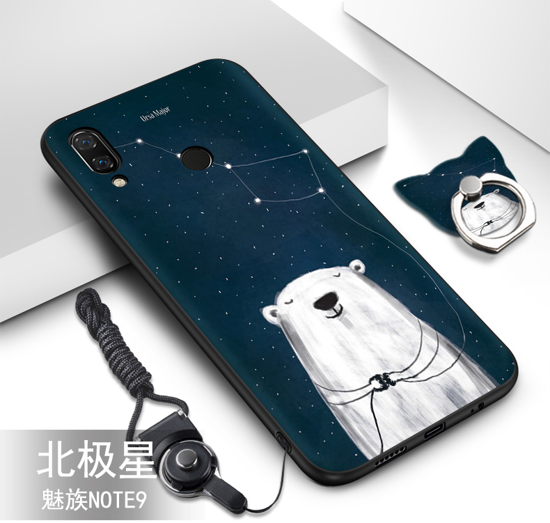 Meizu Note 9 case silicone luxury cute soft TPU cover+Lanyard with pattern Ring back cover for meizu note 9 case coque fundas