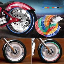 16 Strips Wheel Sticker Reflective Rim Stripe Tape Bike Motorcycle Car Fit For 17 18 Inch Blue Orange Yellow Green White Red 18 motorcycle reflective visual decoration sticker green 16 pcs