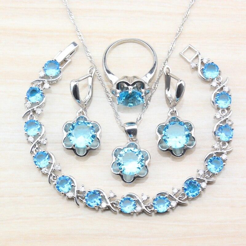 925 Sterling Silber Frauen Vier Stück Schmuck Sets Entzückende Blau Zirkon Ohrring Anhänger Halskette Armband Ring Freies Geschenk Js67 Schnelle Farbe Brautschmuck Sets