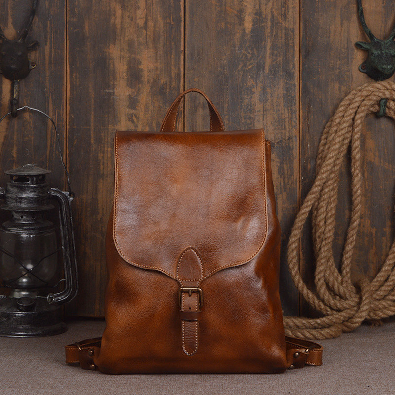 Backpacks Delicious Nesitu High Quality Vintage A4 Brown Vagetable Tanned Genuine Leather Women Men Backpacks Real Skin Male Travel Bags M9019 Always Buy Good