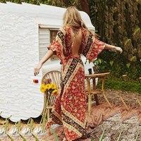Split Boho Women S Dress 2018 Spring Summer Holiday Backless Female Long Floral Printed V Neck
