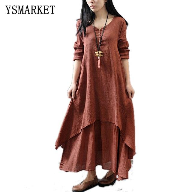 98b34cdf686f New Fashion Women Casual Loose Dress Solid Long Sleeve Cotton Linen Boho  Long Maxi Dress Solid Color Plus Size 5XL E952