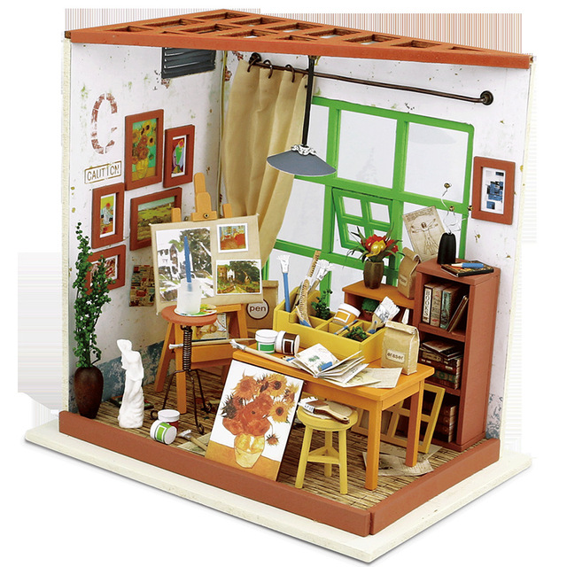 DG103 Miniatura Wooden Doll House Furniture Dollhouse Miniature Studio Room  Puzzle Toy Model Kits Toys
