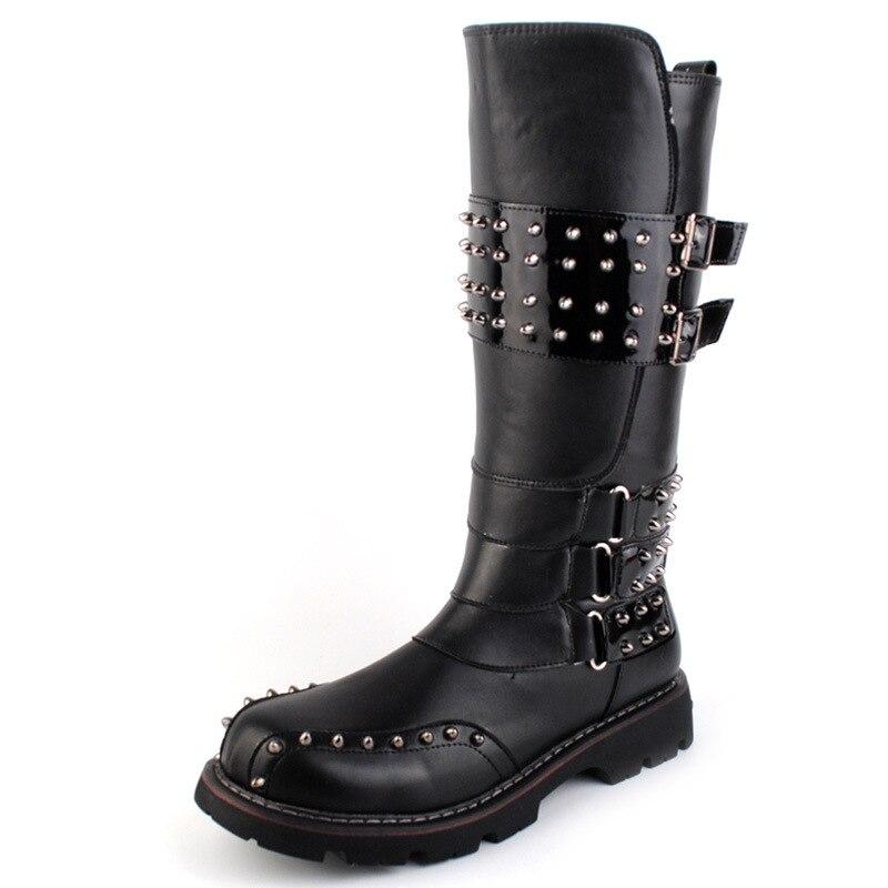 Punk hommes printemps automne Heavy Metal Rock Rivet bout rond bottes longues en cuir noir moto gothique Cosplay bottes hommes chaussures