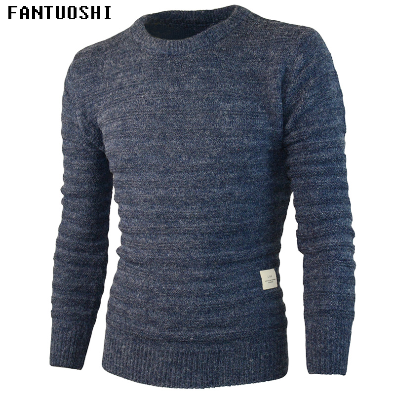 Sweater Men 2018 New Arrival Casual Pullover Men Autumn Round Neck Pure Color Quality Knitted Brand Male Sweaters Navy Blue XXL