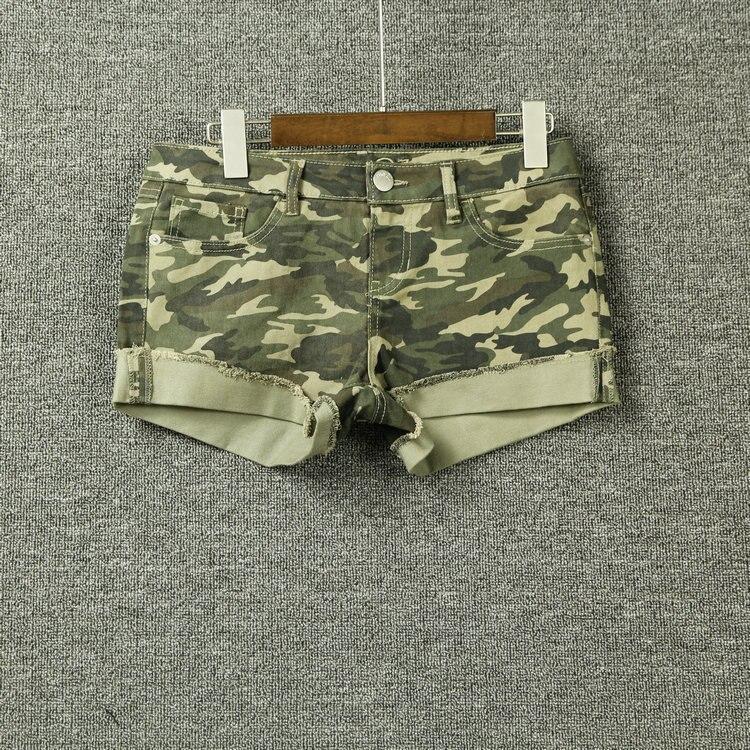 Camouflage Frauen Sommer Mode Vintage Wasser Waschen Rand Rolled-up Casual Shorts Weibliche Trendy Plus Größe Baumwolle Gestreckt Boden Gepäck & Taschen