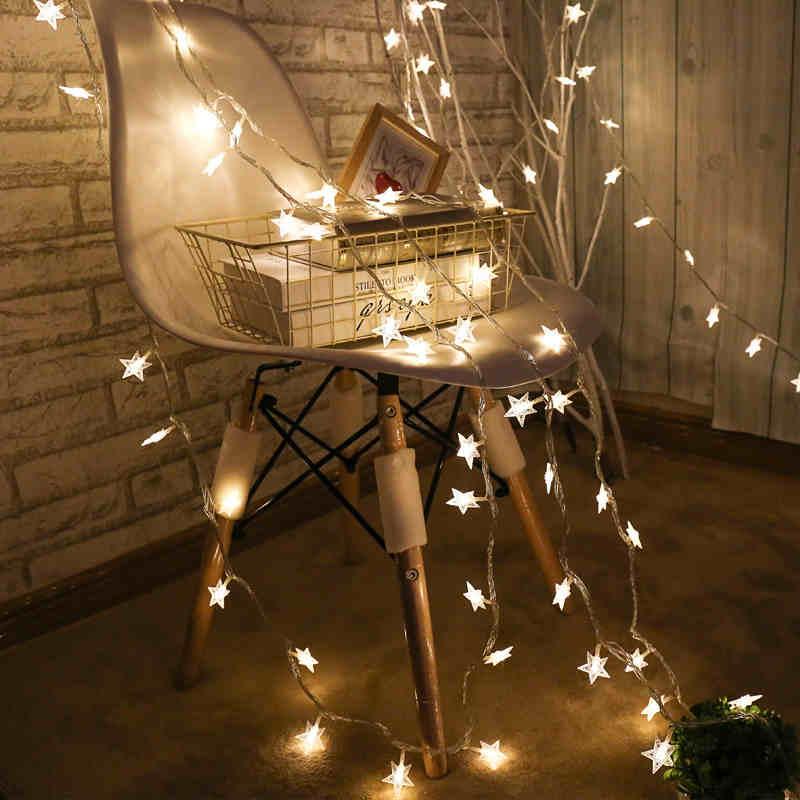 220V 10M 50Led Lampu Krismas Pokok Salji Bintang String Fairy Lampu - Pencahayaan perayaan - Foto 3