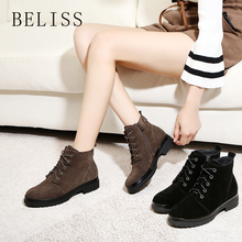 BELISS winter women boots genuine leather lace up fashion ankle for round toe zip flat shoes ladies comforable B56