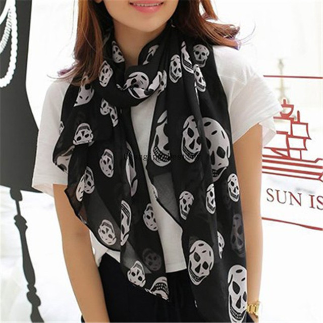 170*65 Cm Women's Scarves Wraps Girl's Chiffon Scarf Female Skulls Leopard Print Silk Ultrathin Dual Shawls Women Scarf