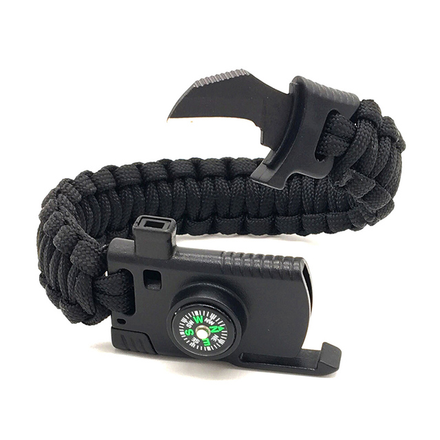 Small Knife Survival Bracelets Compass Whistle Wrap Travel Military SOS Kits Multi-function Camping Parachute Hand Rope