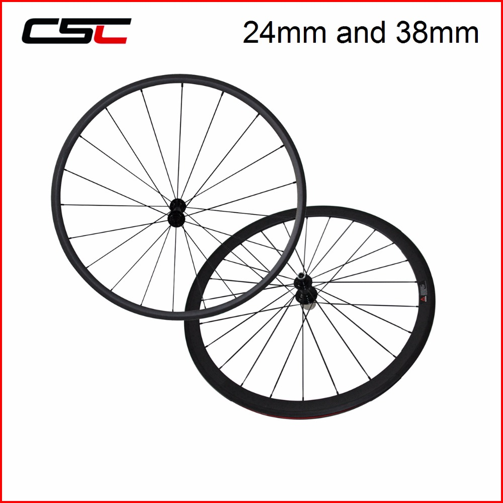 все цены на Carbon Road Wheels 700C Front Wheel 24/38/50/60mm Rear Wheel 38/50/60/88mm Tubular Clincher 23mm Width Carbon Wheel With R13 Hub онлайн