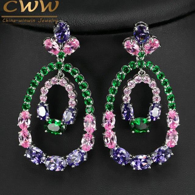 Alta Qualidade Roxo Rosa Verde Cubic Zirconia Pave Definindo Grande Rodada Brincos Gota Para As Mulheres Jóias De Luxo CZ CZ373