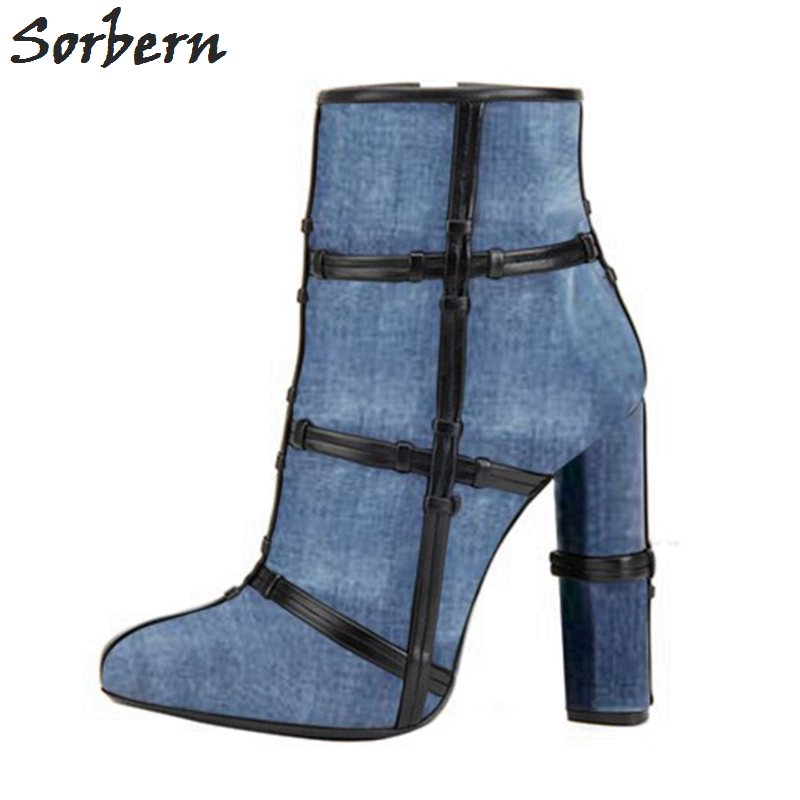 Sorbern Chunky Heel Ankle Boots Womens Shoes Heels Celebrity Inspired Designer Boots Round High Heels Winter Boots Customized