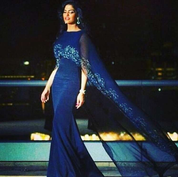 New Design Royal blue Chiffon Shawl Lace Appliqued Evening Prom Gown ...
