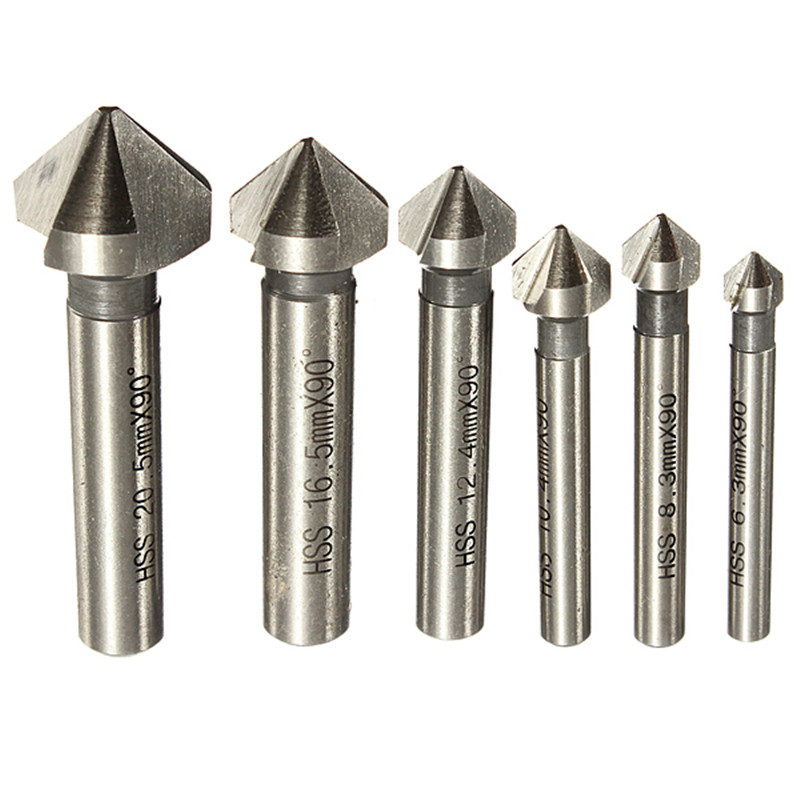 Round shank 6pcs 3 Flute 90 Degree HSS Chamfer Chamfering Cutter End Mill Tool Countersink Drill Bit Set 6.3-20.5MM 20x20x38x104mm 3 flute hss