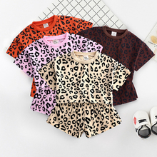цены 2PCS Set Cute Baby Girls Clothes 2019 Summer Toddler Kids Casual Leopard Tshirt+ Shorts Outfits Children Girl Clothing Set 9M-7T