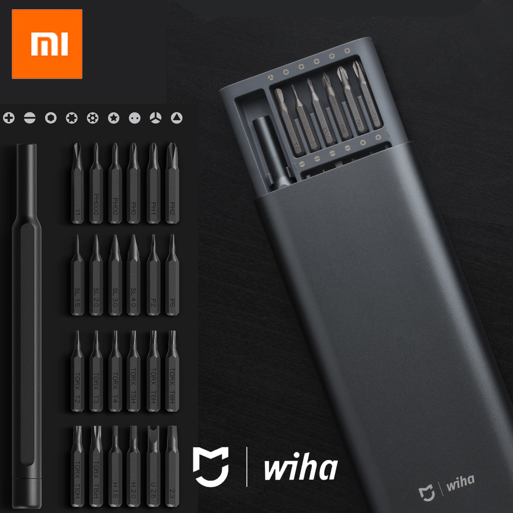 100% Xiaomi Mijia Wiha Kit de tornillo de uso diario 24 brocas magnéticas de precisión Alluminum Box Screw Driver xiaomi smart home Kit