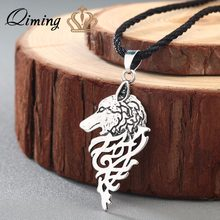 QIMING New Brand Jewelry Vintage Men Necklace Viking Wolf With Celtic Knot Antique Silver Pendant Necklace Chokers(Hong Kong,China)