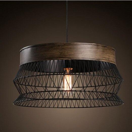 Loft Style Iron Mesh Vintage Pendant Light Fixtures For Dining Room Edison Hanging Lamp Indoor Lighting