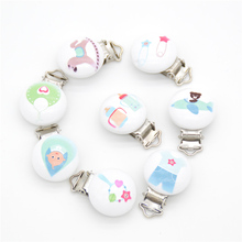 5pcs Metal Wooden Baby Pacifier Clips Cartoon Mixed Pattern  Holders Cute Infant Soother Clasps Holders Funny Accessories