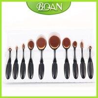 10Pcs Box BQAN New Arrival Tooth Brush Shape Pro Face Black Oval Makeup Brush Set Eyeshadow