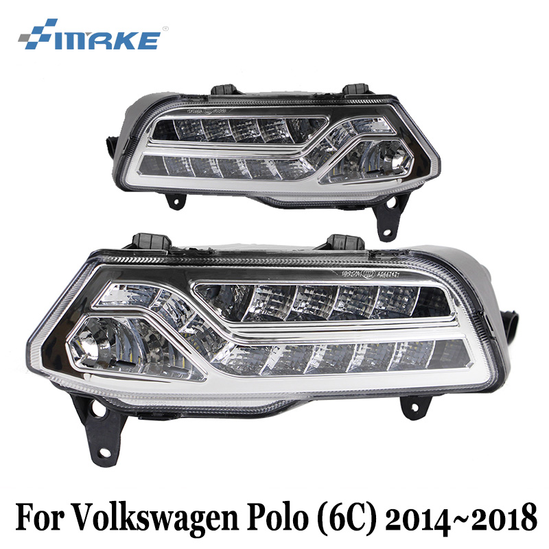 SMRKE DRL For Volkswagen Polo 6C 2014~2018 / Car LED Daytime Running Lights With Cornering lamp / Fog Lamp Frame Car Styling for volkswagen polo mk5 vento cross polo led head lamp headlights 2010 2014 year r8 style sn