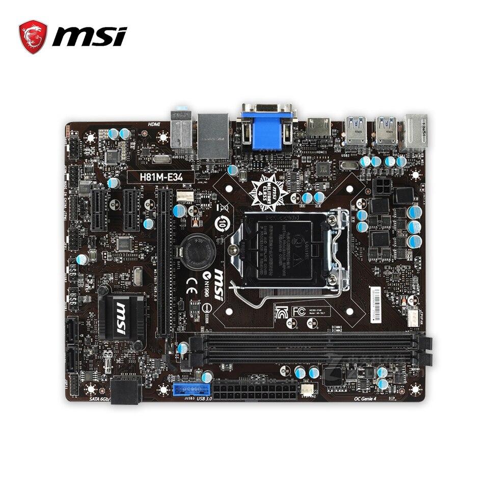 MSI H81M-E34 Original Used Desktop Motherboard H81 Socket LGA 1150 i3 i5 i7 DDR3 16G SATA3 USB3.0 Micro-ATX материнская плата asus h81m r c si h81 socket 1150 2xddr3 2xsata3 1xpci e16x 2xusb3 0 d sub dvi vga glan matx