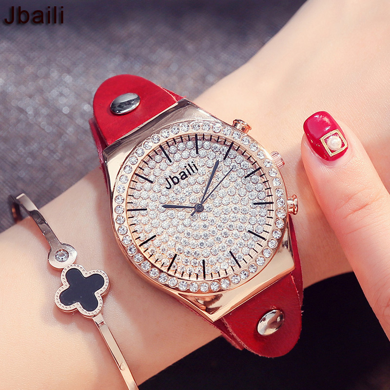2017 New Fashion Women Watch for Ladies Watch Luxury Crystal Diamnond Dial Leather Strap Quartz Wrist