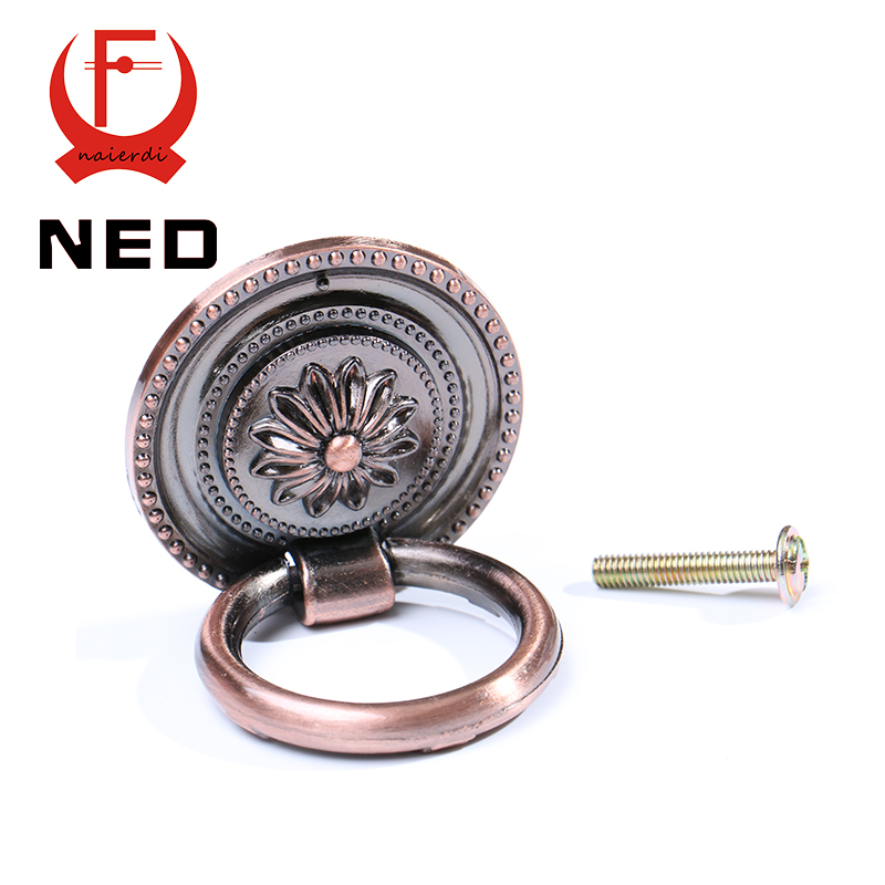 NED-RB1013 Small Retro Red Bronze Kitchen Cabinet Knobs Door Cupboard Zinc Alloy Handles Wardrobe Furniture Handle Drawer Pulls