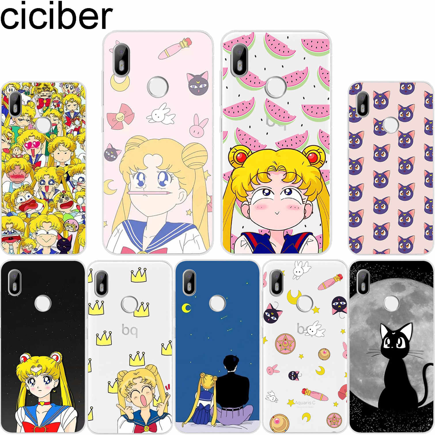 ciciber Cute For BQ Aquaris C U2 U X5 V VS X2 X Lite Pro Plus E5 s E4.5 M5 M5.5 M4.5 Back Cover Clear TPU Phone Case Sailor Moon