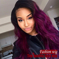 two tone color Synthetic Full Lace Front Wig ombre purple color Heat Resistant Korean Hair Glueless lace Wigs for black women
