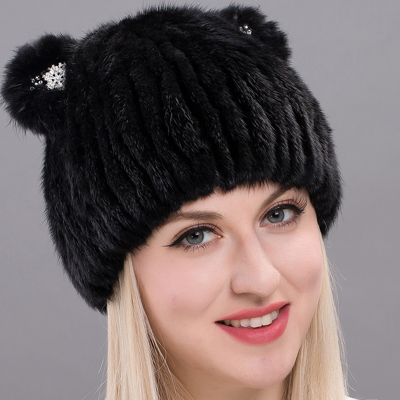 2018 Korean version of the new mink knitted hat female winter hat fashion cute cat ears hat Mink DHY17-24